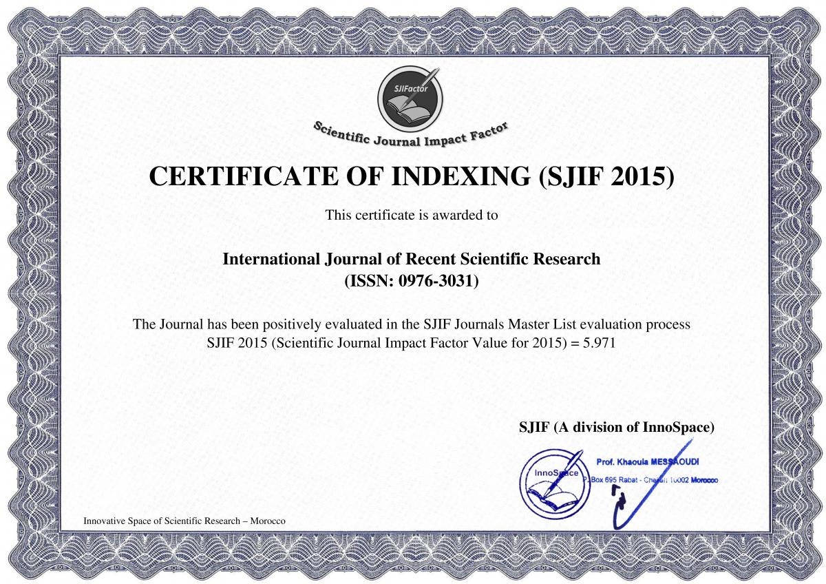 Impact Factor International Journal Of Recent Scientific Research