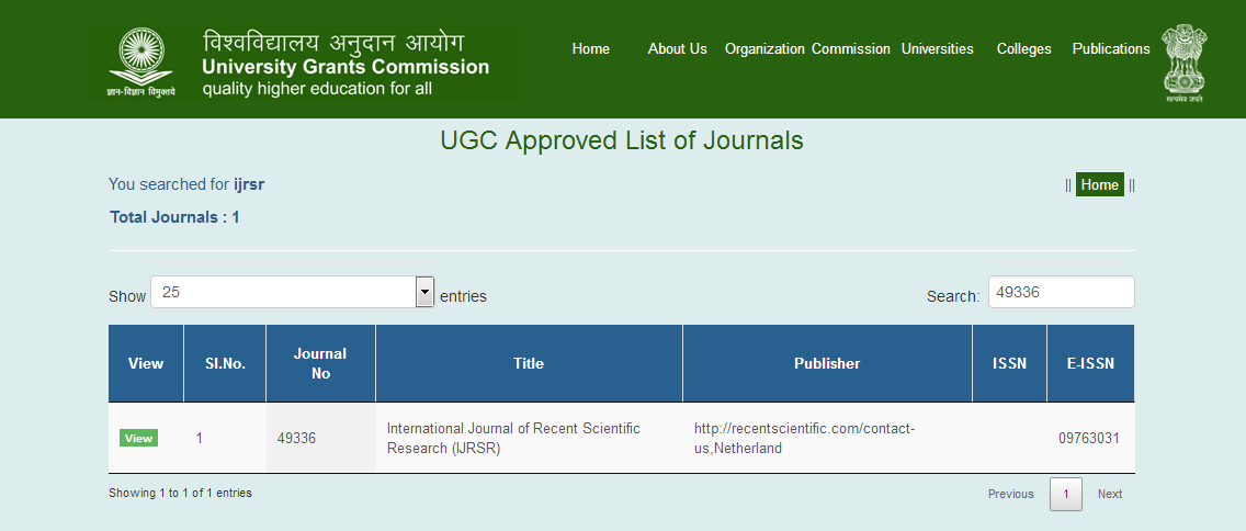 Approved by UGC | International Journal of Recent Scientific